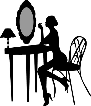 glam: Girl makes make-up in front off mirror silhouette