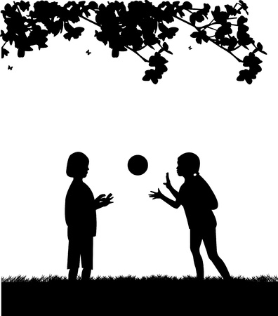 Kids playing with ball in park in spring silhouette, one in the series of similar images Stock Vector - 18659098