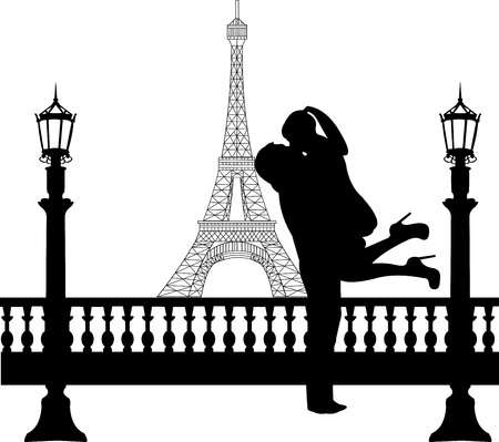 Couple in love in front of Eiffel tower in Paris silhouette, one in the series of similar images