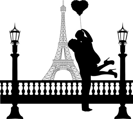 Couple in love with heart balloon in front of Eiffel tower in Paris silhouette, one in the series of similar images  Illustration