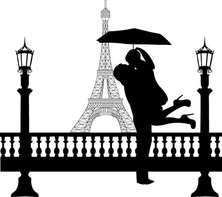 Couple in love with umbrella  in front of Eiffel tower in Paris silhouette, one in the series of similar images  Vector