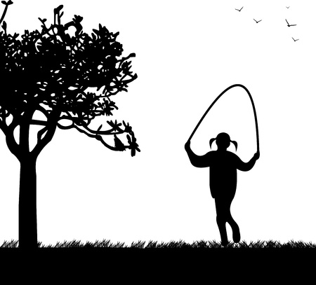 A little girl playing skipping rope in park in spring silhouette, one in the series of similar images Stock Vector - 18708610