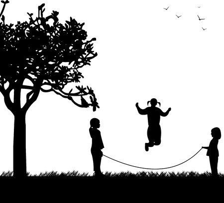 A little girls playing skipping rope in park in spring silhouette, one in the series of similar images Stock Vector - 18756514