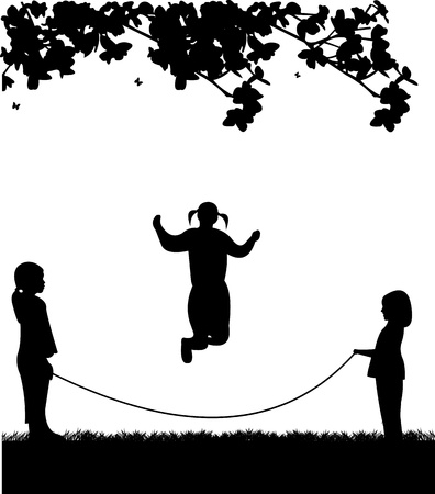 A little girls playing skipping rope in park in spring silhouette, one in the series of similar images Vector