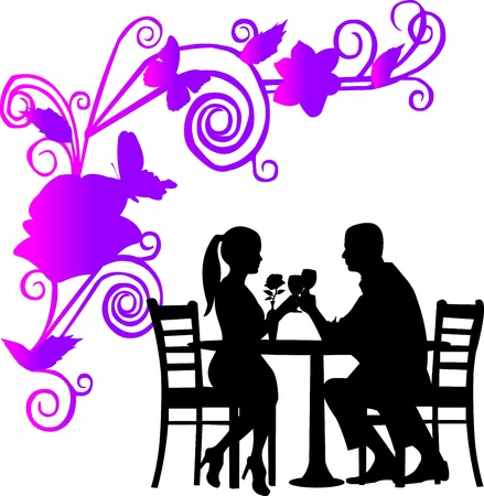 proposal: Background with flowers and butterflies and romantic couple in restaurant toast with glass of wine in color silhouette layered Illustration