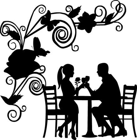 dinner date: Sfondo con fiori e farfalle e coppia romantica nel ristorante brindisi con un bicchiere di vino silhouette a strati Vettoriali
