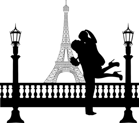 outdoor wedding: Couple in love with bouquet of flowers in front of Eiffel tower in Paris silhouette, one in the series of similar images