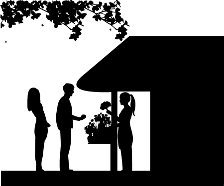 small business woman: A florist girl holding a bouquet of flowers in the flower shop and sales the man, one in the series of similar images