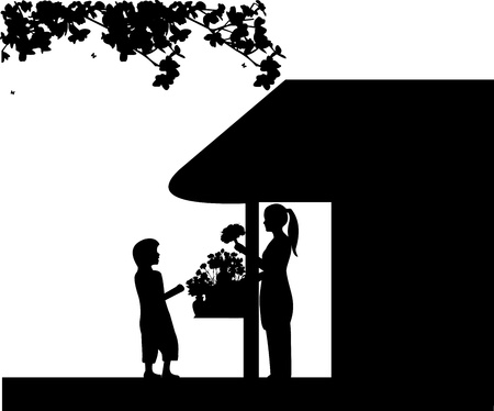 small business woman: A florist girl holding a bouquet of flowers in the flower shop and sales the boy, one in the series of similar images Illustration
