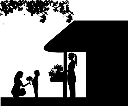 bought: Daughter gives her mother a bouquet of flowers bought in flower shop silhouette, one in the series of similar images Illustration