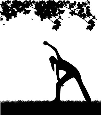 Pretty girl exercising flexibility with stretching posture in spring outdoors in park silhouette, one in the series of similar images Stock Vector - 18956847