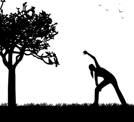 Pretty girl exercising flexibility with stretching posture in spring outdoors in park silhouette, one in the series of similar images  Stock Vector - 18956845