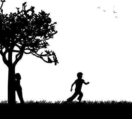 playmates: Los ni�os que juegan al escondite en la silueta del parque, uno en la serie de im�genes similares Vectores
