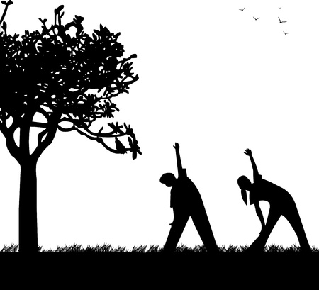 Kids exercising flexibility with stretching posture in spring outdoors in park silhouette, one in the series of similar images  Stock Vector - 18956848