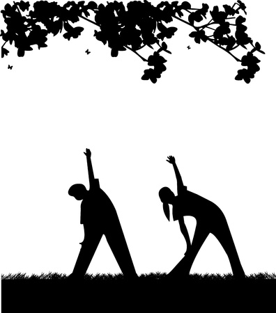 flexibility: Kids exercising flexibility with stretching posture in spring outdoors in park silhouette, one in the series of similar images