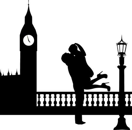 Couple amoureux en face de Big Ben à Londres silhouette, un dans la série d'images similaires Banque d'images - 19116608