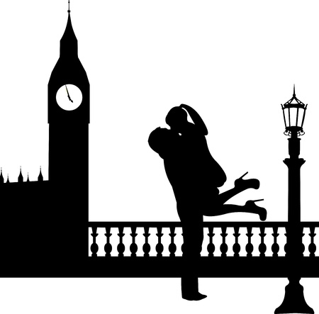 Couple in love in front of Big Ben in London silhouette, one in the series of similar images  向量圖像