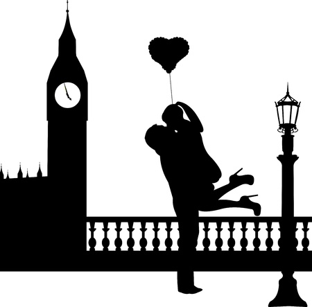 woo: Couple in love with heart balloon in front of Big Ben in London silhouette, one in the series of similar image