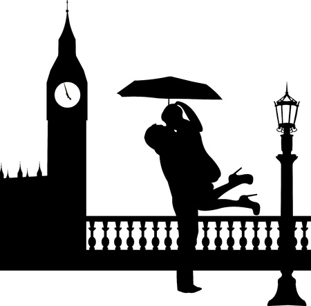 woo: Couple in love with umbrella in front of Big Ben in London silhouette, one in the series of similar images