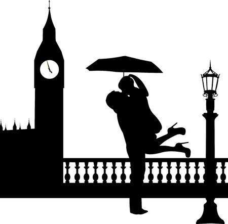 Couples dans l'amour avec un parapluie devant Big Ben à Londres silhouette, un dans la série d'images similaires Banque d'images - 19116604