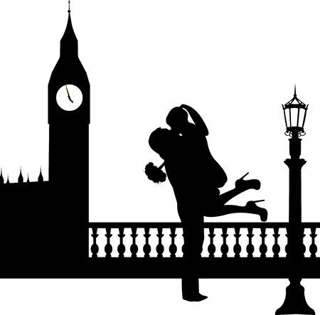 Couple in love with bouquet of flowers in front of Big Ben in London silhouette, one in the series of similar images  Vector