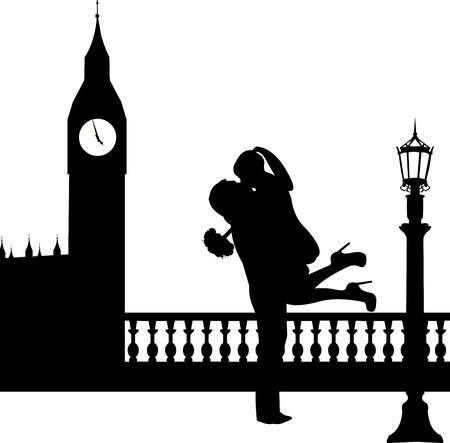 siluetas de enamorados: Pareja en el amor con el ramo de flores en frente del Big Ben en Londres silueta, uno en la serie de imágenes similares