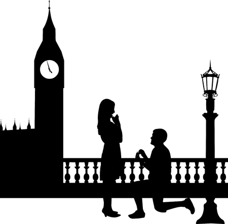 Romantic proposal in London in front of Big Ben of a man proposing to a woman while standing on one knee silhouettes, one in the series of similar images  Vector