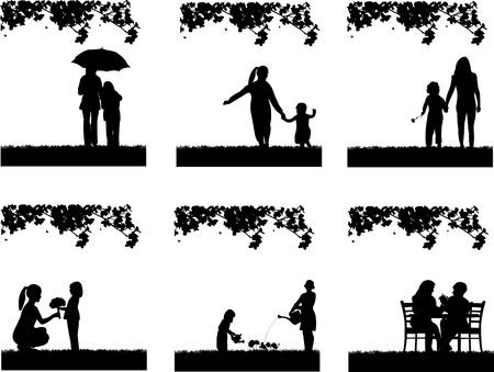 mum and daughter: Festa della mamma s tra madre e figlia nel parco, carta da parati bel concetto per la celebrazione giorno felice madre s, uno nella serie di immagini simili silhouette Vettoriali
