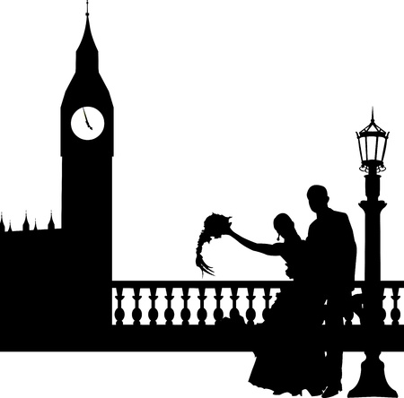 Wedding couple in front of Big Ben in London silhouette, one in the series of similar images  Vector