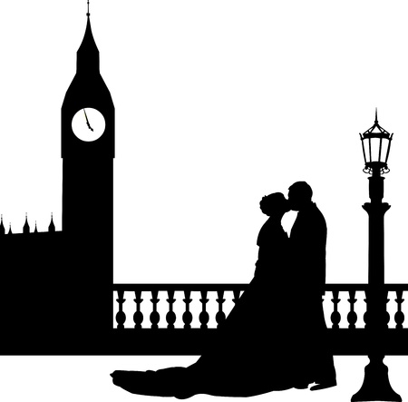honeymoon couple: Wedding couple in front of Big Ben in London silhouette, one in the series of similar images