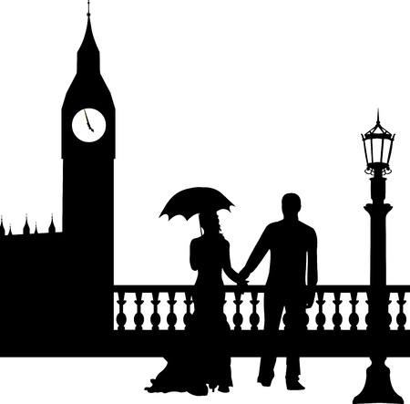 Wedding couple in front of Big Ben in London silhouette, one in the series of similar images  Stock Vector - 19137689