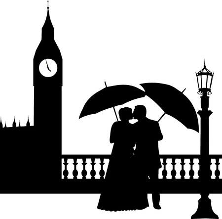 Wedding couple in front of Big Ben in London silhouette, one in the series of similar images Stock Vector - 19137683