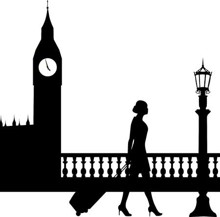 viaje de negocios: Una mujer de negocios que viajan en viaje de negocios en Londres y pasa por delante del Big Ben silueta, uno en la serie de im�genes similares