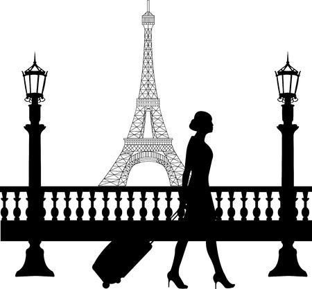 viaje de negocios: Una mujer de negocios que viajan en viaje de negocios en Par�s y pasa por delante de la torre Eiffel silueta, uno en la serie de im�genes similares