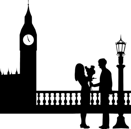 woo: Young man giving his girlfriend a bouquet of flowers in front of Big Ben in London silhouette, one in the series of similar images