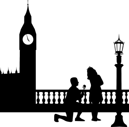 woo: A young man with rose, kneel and woo the girl in London in front of Big Ben silhouette, one in the series of similar images  Illustration