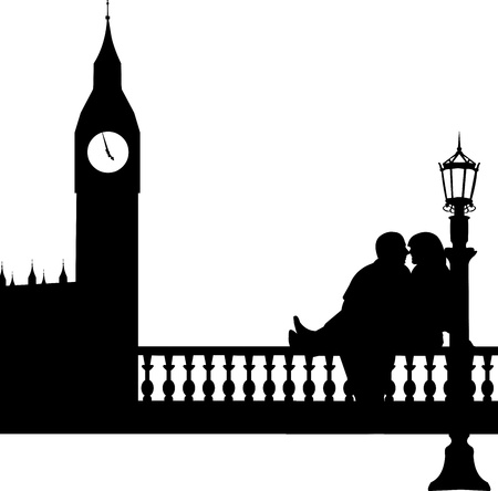 woo: Young boyfriend and girlfriend are kissing  in front of Big Ben in London silhouette, one in the series of similar images  Illustration