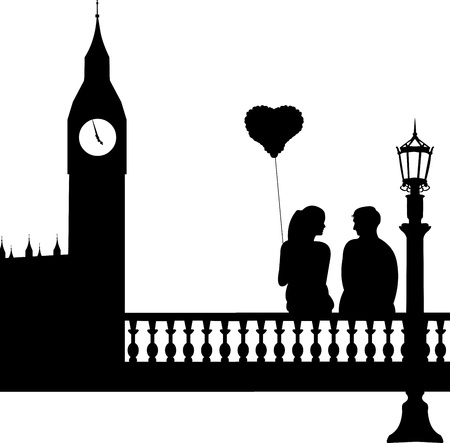 outdoor wedding: Couple in love in front of Big Ben in London silhouette, one in the series of similar images  Illustration