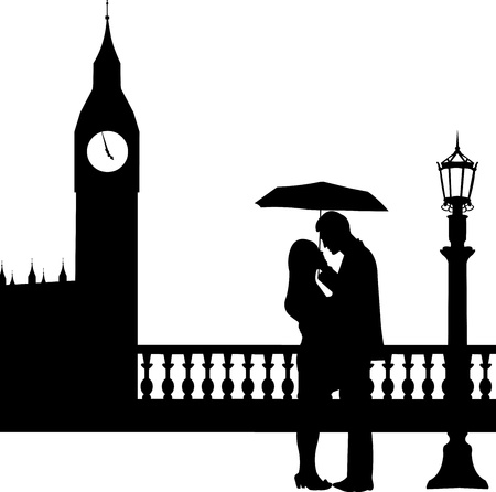 london night: Romantic couple in front of Big Ben in London under umbrella silhouette, one in the series of similar image Illustration