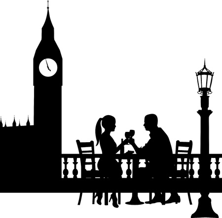 Romantic couple in front Big Ben in London have a dinner silhouette, one in the series of similar images  Vector