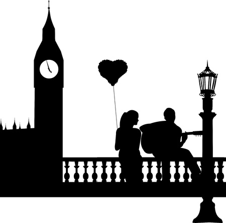 love music: Couple in love where a guy plays guitar girl in front of Big Ben in London silhouette, one in the series of similar images  Illustration