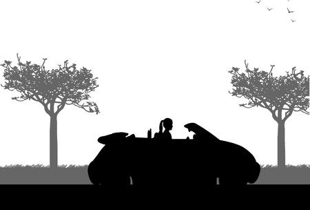 cruising: Ragazza che guida una macchina cabriolet sulla strada in primavera, silhouette