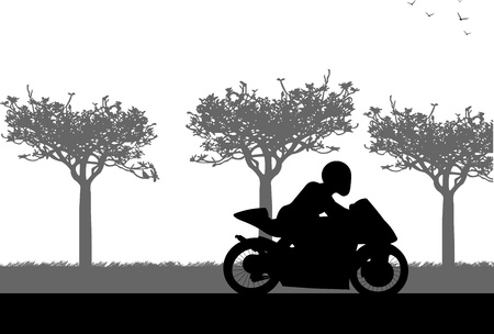 A silhouette of a man on motorcycle who drives along the road in spring Vector