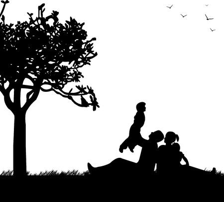 family grass: Familia de picnic en el parque en primavera bajo la silueta del �rbol, uno en la serie de im�genes similares Vectores