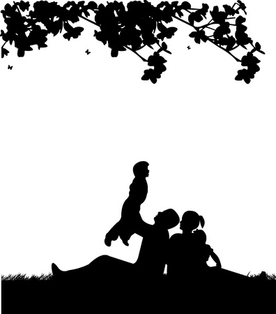 Family picnic in park in spring under the tree silhouette, one in the series of similar images