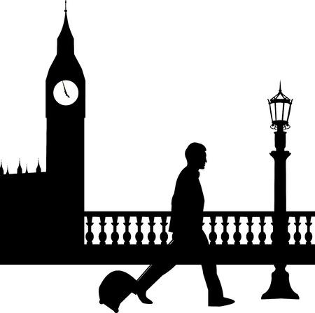 viaje de negocios: Un hombre de negocios que viaja en viaje de negocios en Londres y pasa por delante del Big Ben silueta, uno en la serie de im�genes similares Vectores