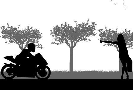 adolescent sexy: Beautiful woman hitchhiking motorbike silhouette, one in the series of similar images Illustration