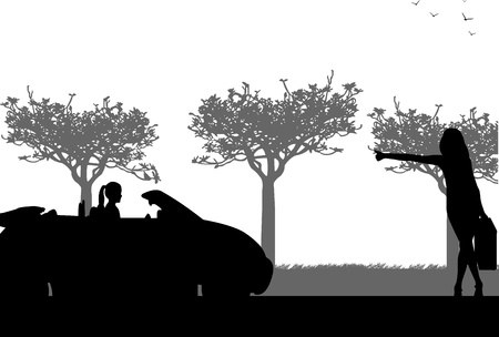 Beautiful woman hitchhiking sport car silhouette, one in the series of similar images Vector