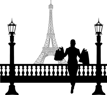 Woman in shopping in Paris in front of Eiffel tower silhouette, one in the series of similar images Stock Vector - 19532666