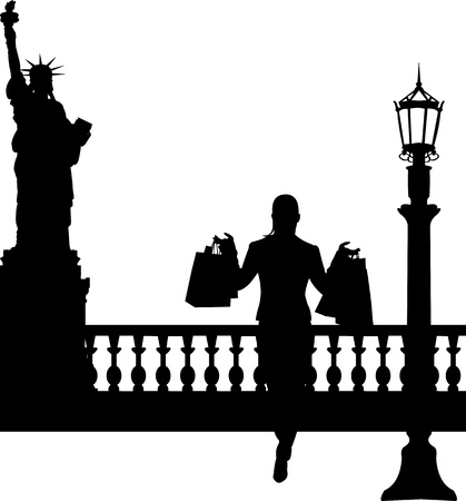 Woman in shopping in New York silhouette, one in the series of similar images Stock Vector - 19532683